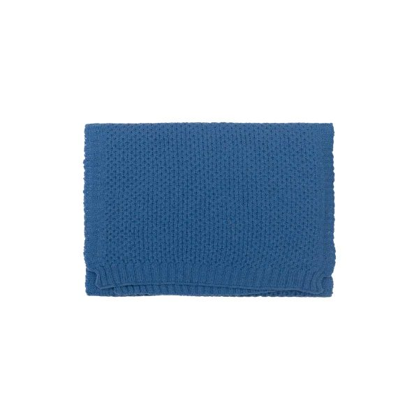 Bufanda Cabañera Lana Merino Azul Plano