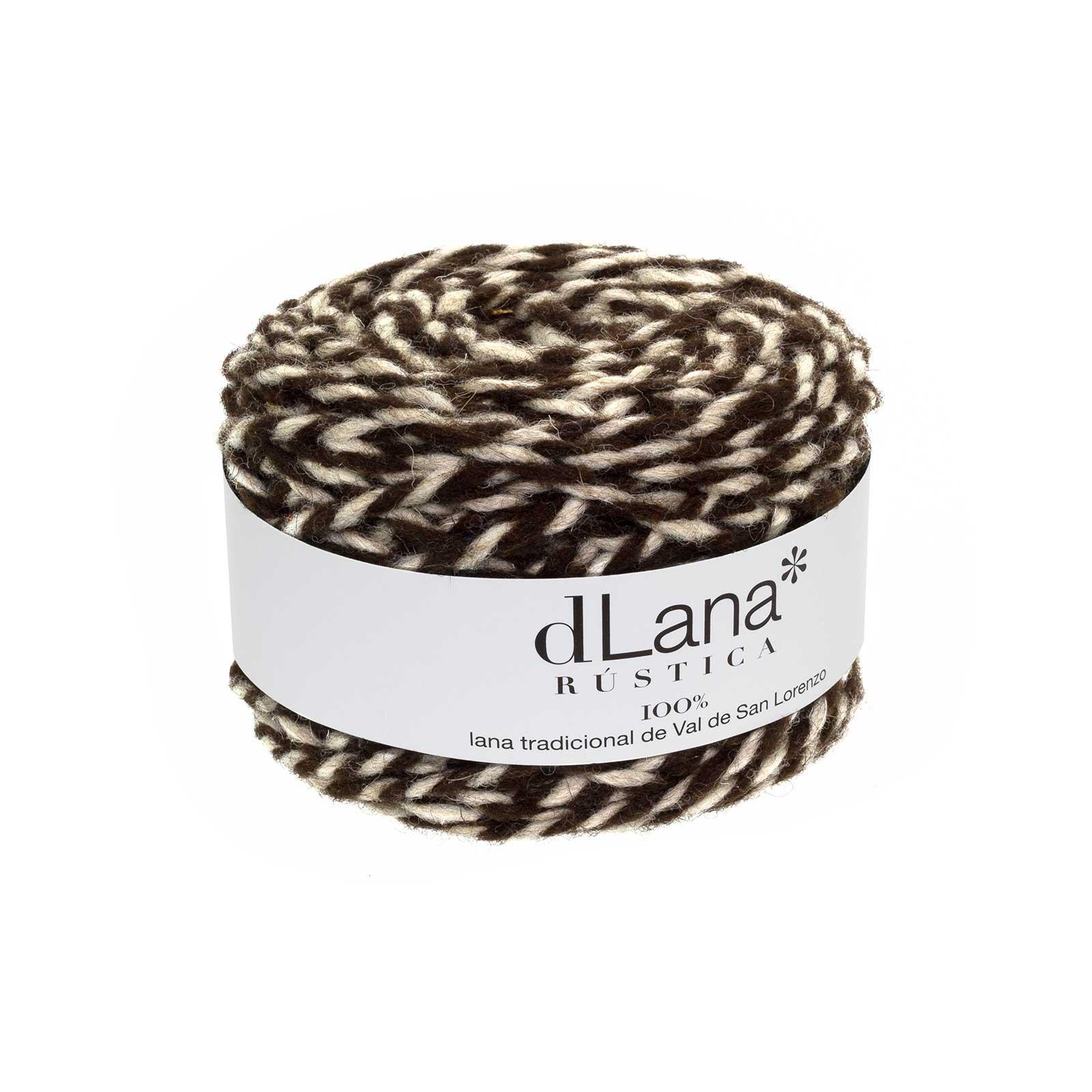 Ovillo de lana rústica de colores jaspeados a dos cabos